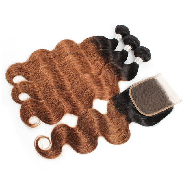 Sulmy 3 Bundles With Closure 1b #30 Ombre body wave Brazilian Hair Weave ombre hair weave SULMY