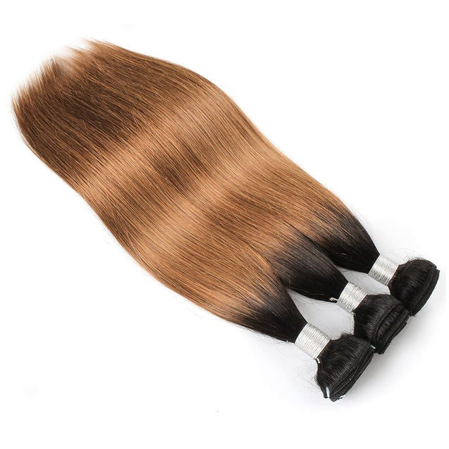 Sulmy 3 Bundles 1b/#30 Two Tone Colored straight Ombre Brazilian Human Hair Weave.