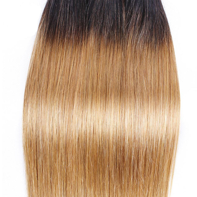 Sulmy 3 Bundles With Frontal Closure 1b #27 Ombre Straight Brazilian Hair Weave.