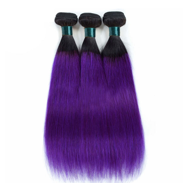 Sulmy 1 Bundle 1b/Purple Two Tone Colored Straight Ombre Brazilian Human Hair Weave.