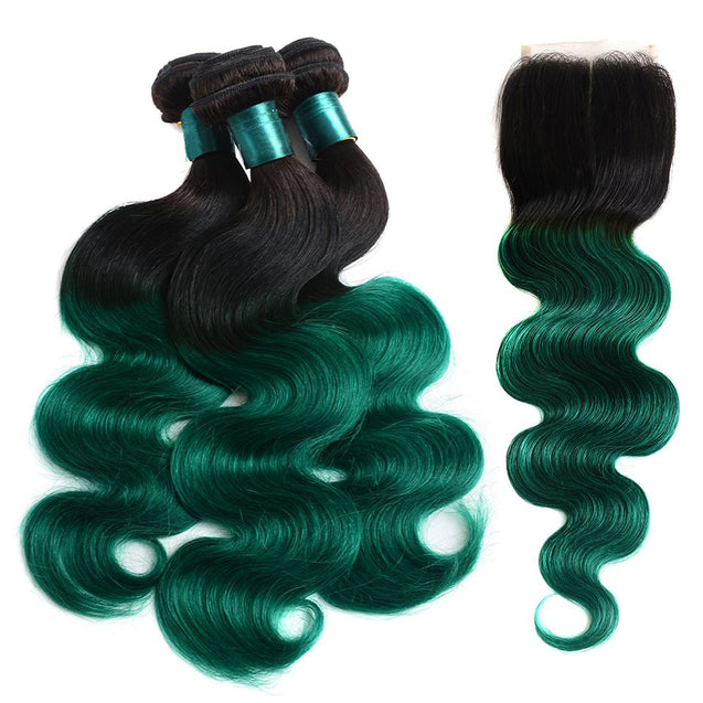 Sulmy 3 Bundles With Closure 1b Green Ombre Body wave Brazilian Hair Weave ombre hair weave SULMY
