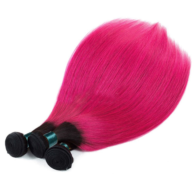 Hot Pink Hair Weave 1 Bundle Pink Straight Human Hair Dark Roots