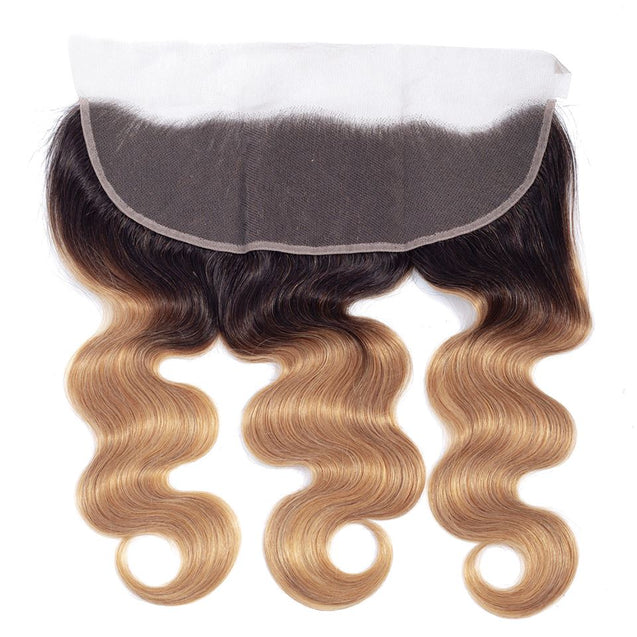 Sulmy 3 Bundles With Frontal Closure 1b #27 Ombre body wave Brazilian Hair Weave.