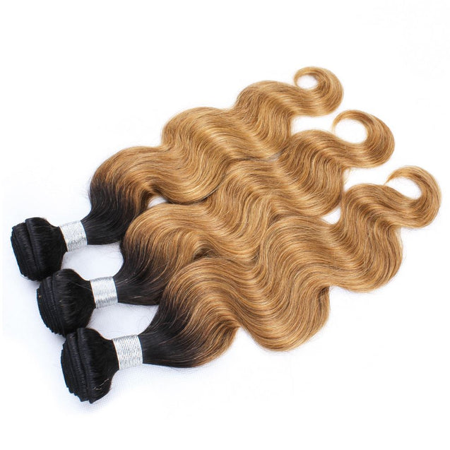 Sulmy 3 Bundles With Closure 1b #27 Ombre body wave Brazilian Hair Weave.