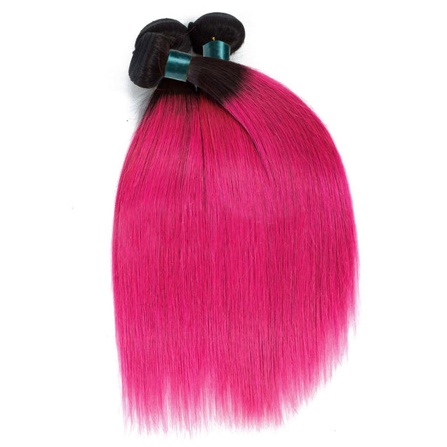 Sulmy 3 Bundles With Frontal Closure 1b Pink Ombre Straight Brazilian Hair Weave ombre hair weave SULMY