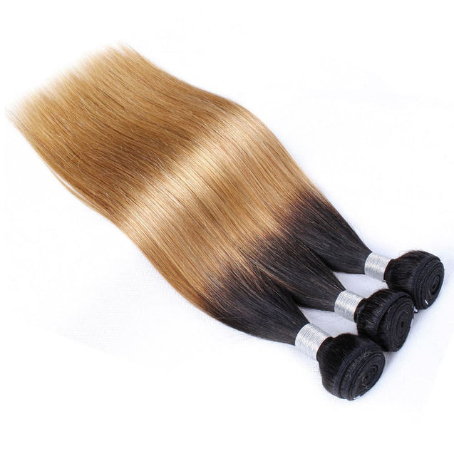 Sulmy 3 Bundles 1b/#27 Two Tone Colored Straight Ombre Brazilian Human Hair Weave.