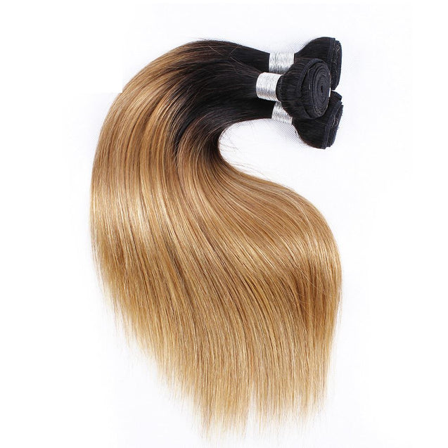 Sulmy 3 Bundles With Frontal Closure 1b #27 Ombre Straight Brazilian Hair Weave ombre hair weave SULMY