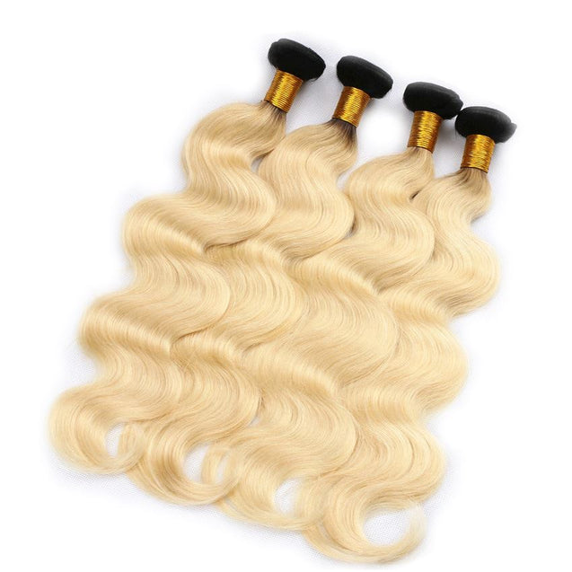 Sulmy 3 Bundles With Frontal Closure 1b Blonde Ombre Body wave Brazilian Hair Weave ombre hair weave SULMY