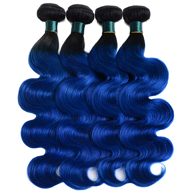 Royal Blue Ombre Bundles With Closure Remy Human Hair Electric Blue Hair Weave Dark Roots