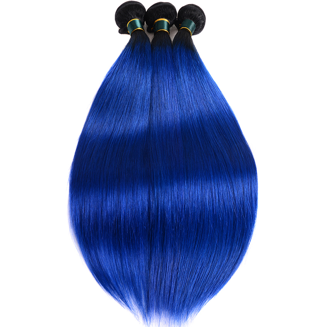 Royal Blue Ombre Weave Bundles With Closure Straight Pre Colored Vigin Human Hair