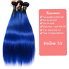 Royal Blue Ombre Weave Bundles With Closure Straight Pre Colored Remy Human Hair