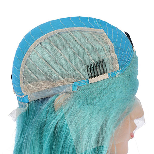 Blue Bob Lace Front Wig Colored Short Human Hair Wigs -SULMY