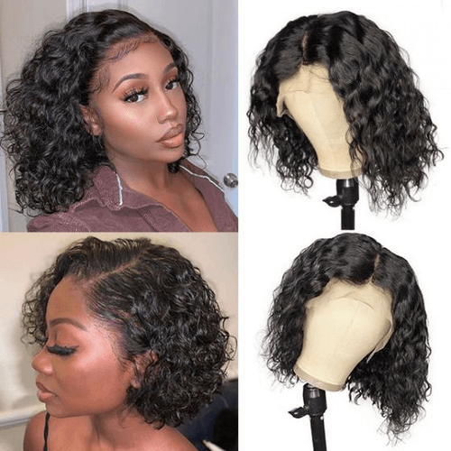 Sulmy Lace Front Bob Wigs Human Hair Short Frontal Wigs -Water Wave