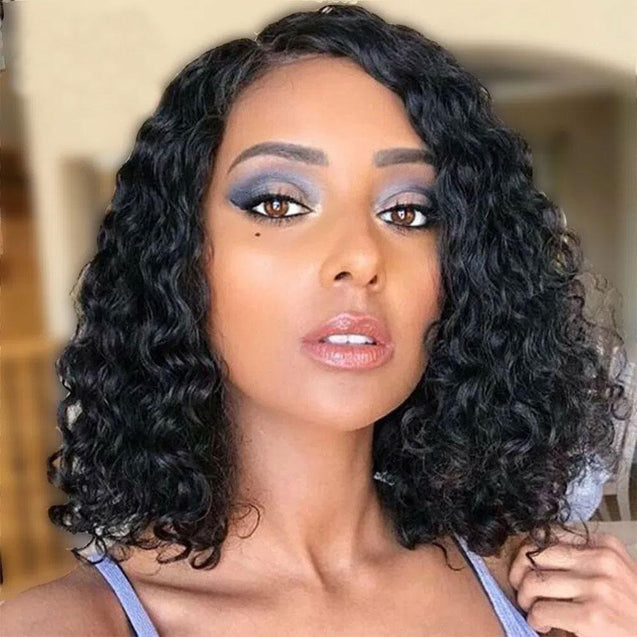 Wet And Wavy Bob Human Hair Frontal Wigs Short 13x4 Lace Front Wigs Pre-plucked 180% Density -SULMY