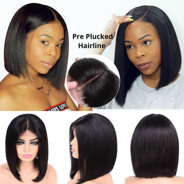 Sulmy Lace Front Bob Wigs Human Hair Short Frontal Wigs -Silky Straight.
