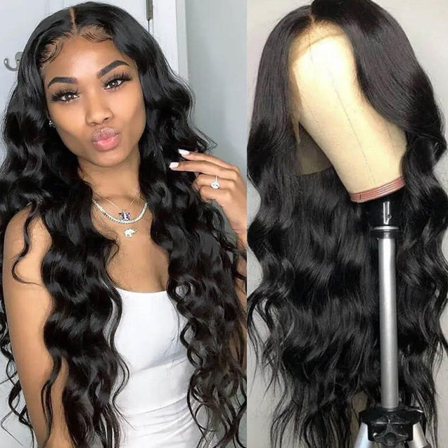Transparent HD Lace Front Wig Human Hair Invisible Lace Frontal Wigs Body Wave Pre-plucked 180% Density