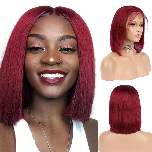 Burgundy Lace Front Wig Colored Short Human Hair Wigs- SULMY