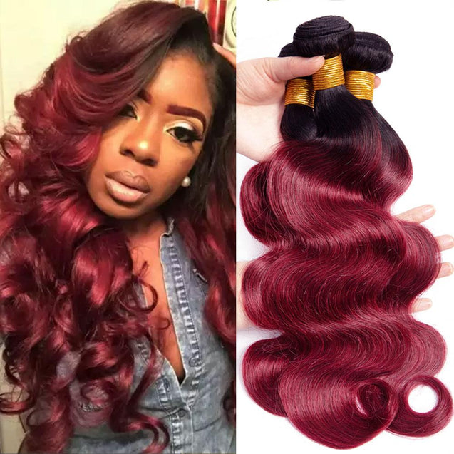Ombre Burgundy Weave Body Wave 1 Bundle