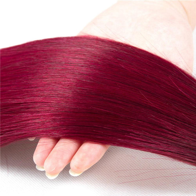 Burgundy Red Hair Weave 1 Bundle Remy Straight Human Hair