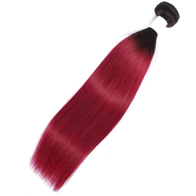 Ombre Burgundy Bundles Straight Hair Weave Dark Roots
