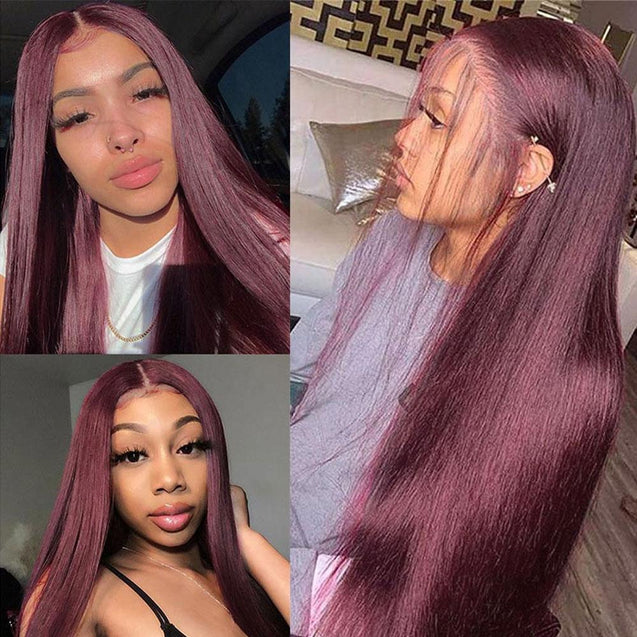 Pre-colored Long Human Hair Wigs Red Lace Front Wigs.