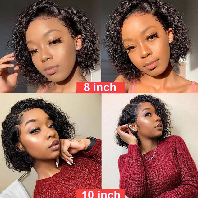 Wet And Wavy Bob Human Hair Frontal Wigs Short 13x4 Lace Front Wigs Pre-plucked 180% Density -SULMY.