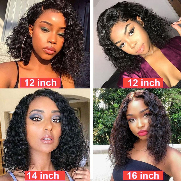 Wet And Wavy Bob Human Hair Frontal Wigs Short Lace Front Wigs Pre-plucked 180% Density -SULMY