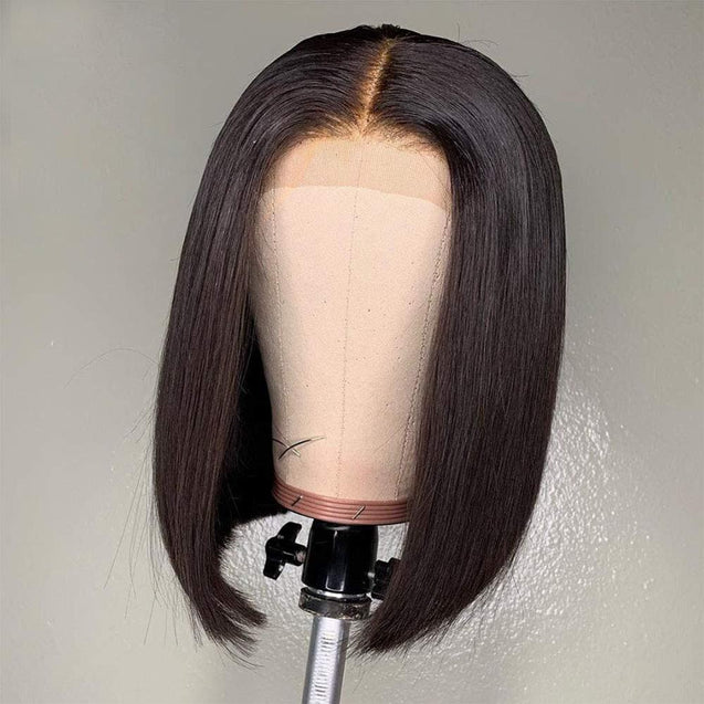Sulmy Closure Bob Wigs Human Hair Free Part Lace Wigs -Silky Straight.