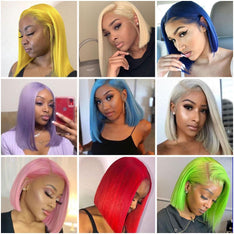 Colored Bob Wigs Human Hair Lace Wigs 180% Denstity Pre-plucked SULMY