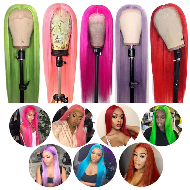 Colored Wigs Human Hair Dyed Lace Front Wigs SULMY.