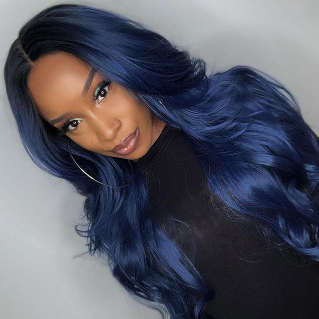 Dark Blue Long Human Hair Wig Lace Front Midnight Blue Wavy Wigs SULMY.
