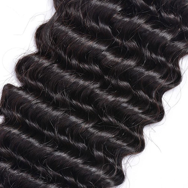 Bundles with Frontal Deep Wave Brazilian Virgin Human Hair Weave Bundles 3+1.