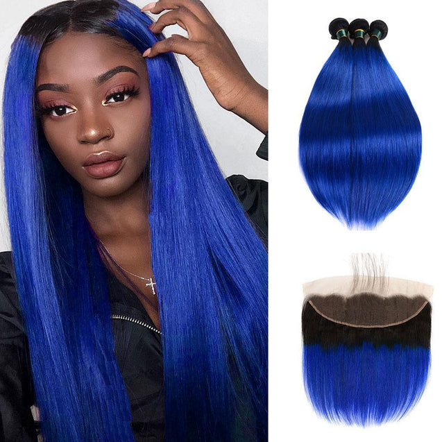 Dark Blue Bundles with Frontal Straight Dark Roots Electric Blue Remy Human Hair
