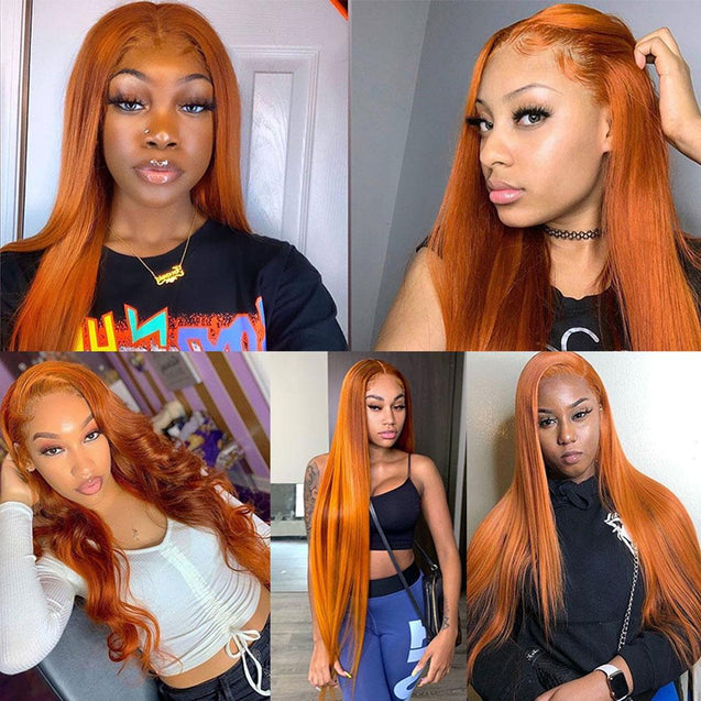 Ginger Orange Lace Front Wig Human Hair Long Burnt Orange Copper Pre-colored Wigs SULMY.