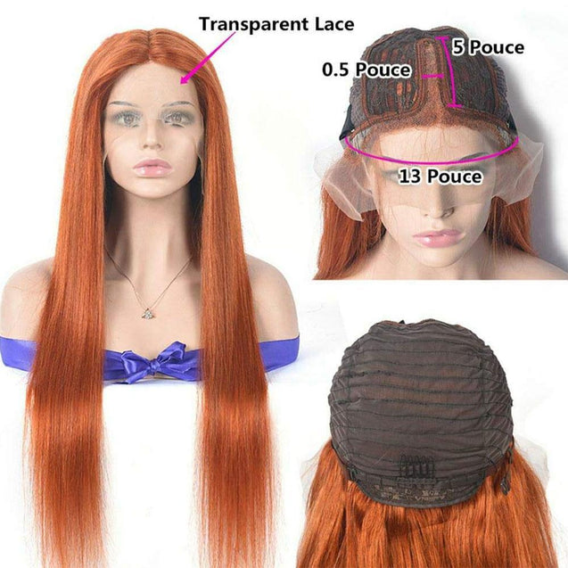 Perruque Lace Front Cheveux Humain Orange Gingembre.