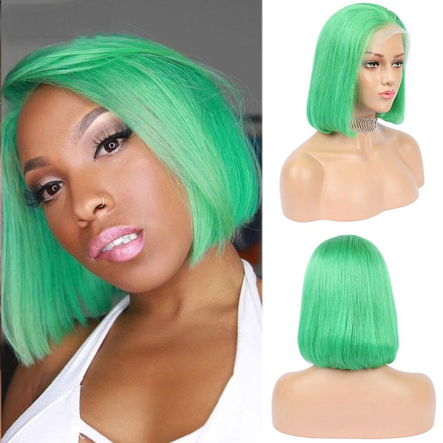 Green Bob Lace Front Wig Colored Short Human Hair Wigs -SULMY