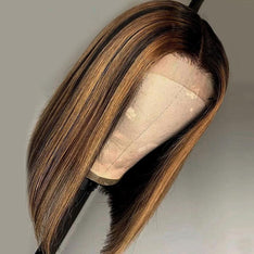 Highlight Ombre Brown Bob Lace Front Wig Colored Short Human Hair Wigs -SULMY.
