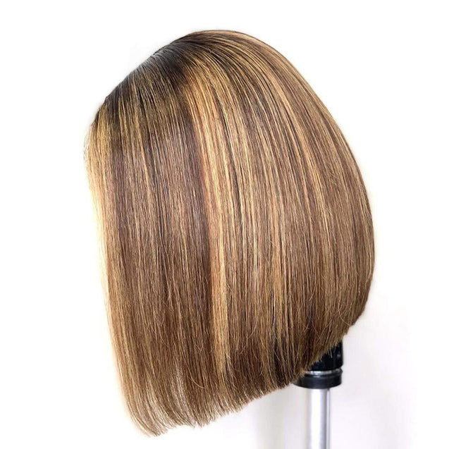 Highlight Ombre Brown Bob Lace Front Wig Colored Short Human Hair Wigs -SULMY