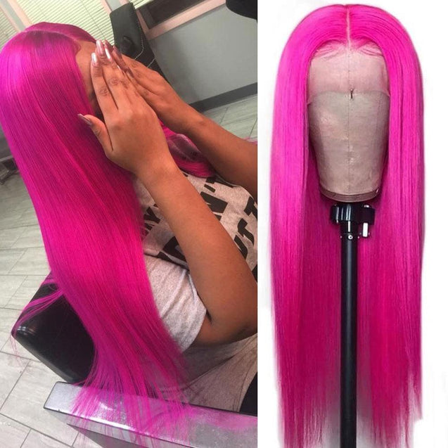 Hot Pink Wigs Human Hair Fuchsia Lace Front Colored Wigs SULMY.