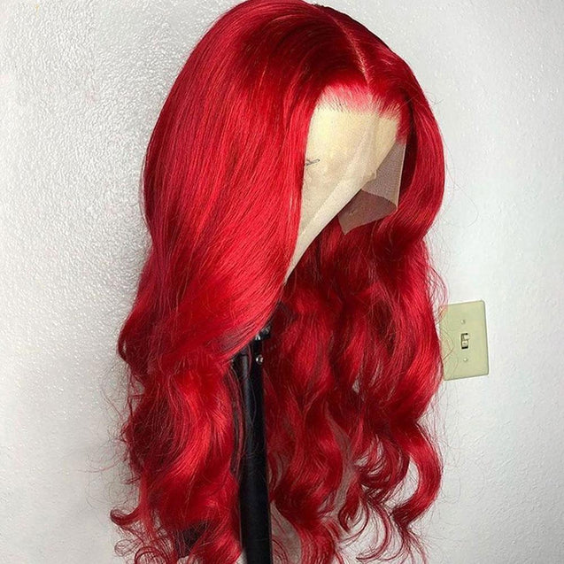 Perruque Lace Front Cheveux Humain Ondul¨¦e Rouge Vif.