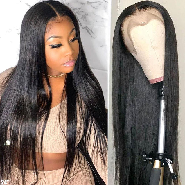 Human Hair Wigs Lace Front Straight Wig 180% Density.