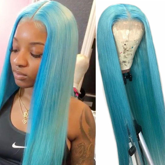 Light Blue Wigs Human Hair Eletric Blue Lace Front Colored Wigs SULMY.