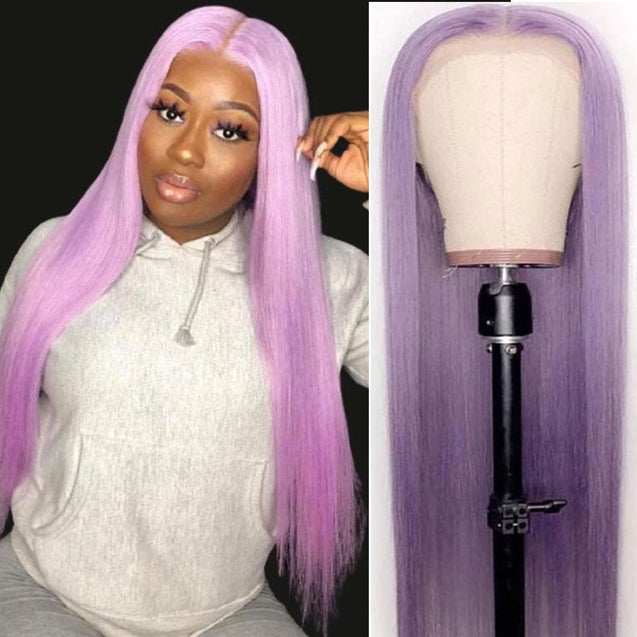 Light Purple Lace Closure Wigs Human Hair Long Pastel Purple Colored Wigs.
