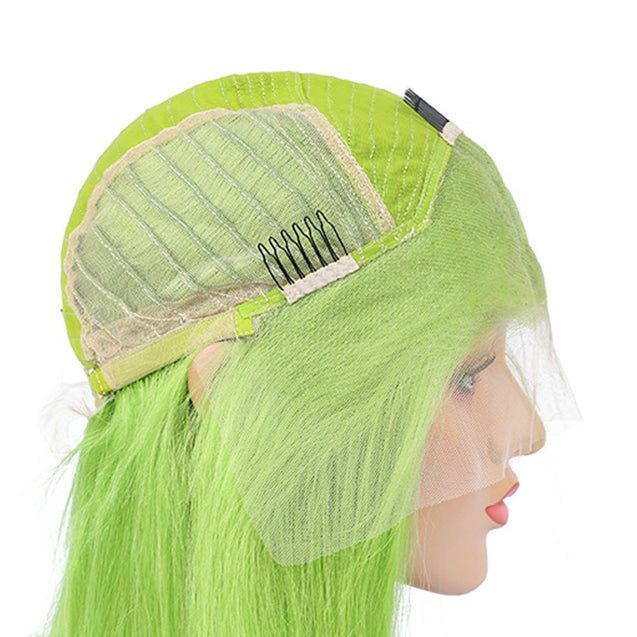 Lime Green Bob Lace Front Wig Colored Short Human Hair Wigs -SULMY.