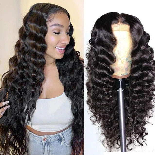 Lace Front Human Hair Wigs 13x4 Lace Wig Loose Deep Wave, Pre-plucked, 180% Density-SULMY