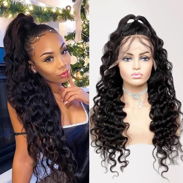 Lace Front Human Hair Wigs 13x4 Lace Wig Loose Deep Wave, Pre-plucked, 180% Density-SULMY.