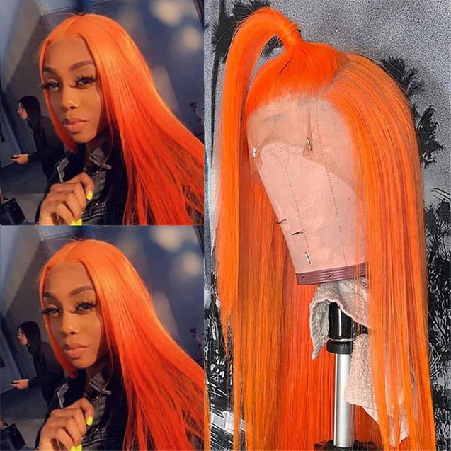 Orange Wigs Human Hair Orange Lace Front Wigs SULMY
