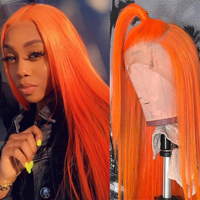 Orange Wigs Human Hair Orange Lace Front Colored Wigs SULMY.
