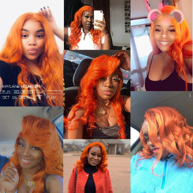 Orange Hair Weave Bundles With Frontal Straight.