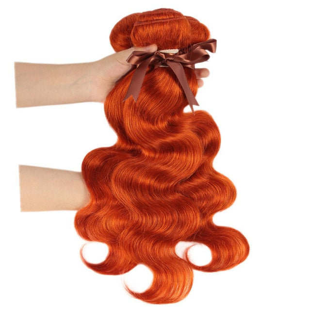 Orange Hair Weave Bundles With Closure Body Wave.